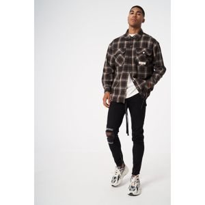 Pánska košeľa THE COUTURE CLUB Oversized Bleached Check Distressed brown Veľkosť: M